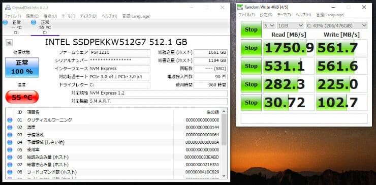 長尾製作所 M.2 SSD用ヒートシンクカバー取り付け後の温度
