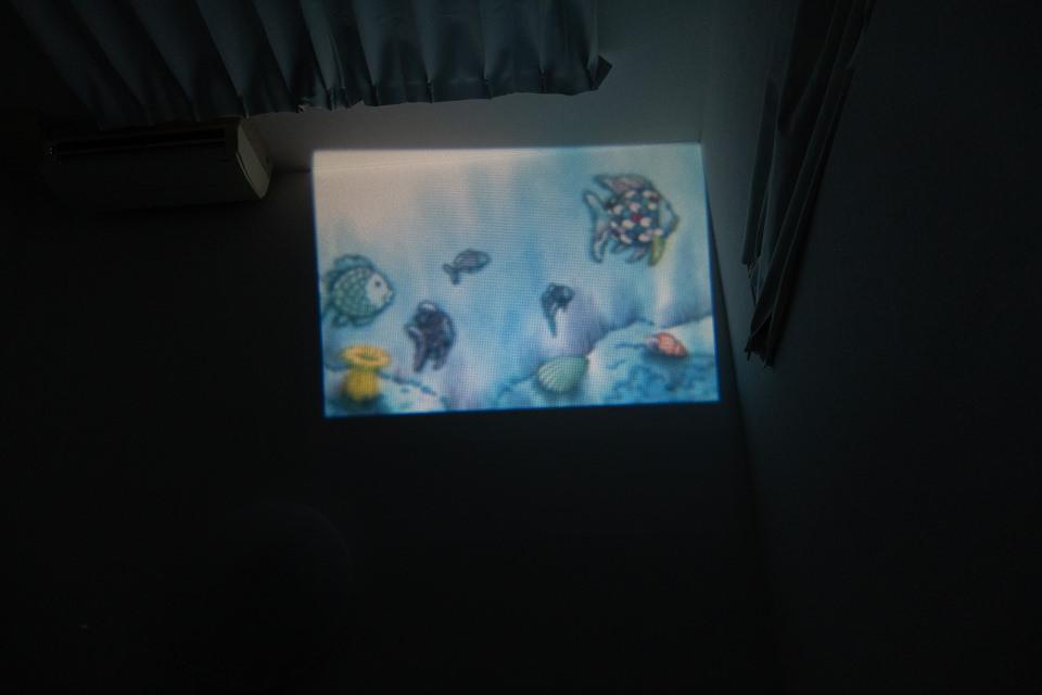 ドリームスイッチの絵本を天井に投影している様子