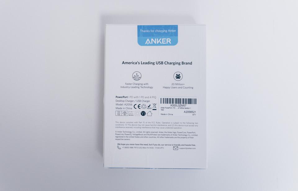 Anker PowerPort I PD - 1 PD & 4 PowerIQのパッケージ裏面