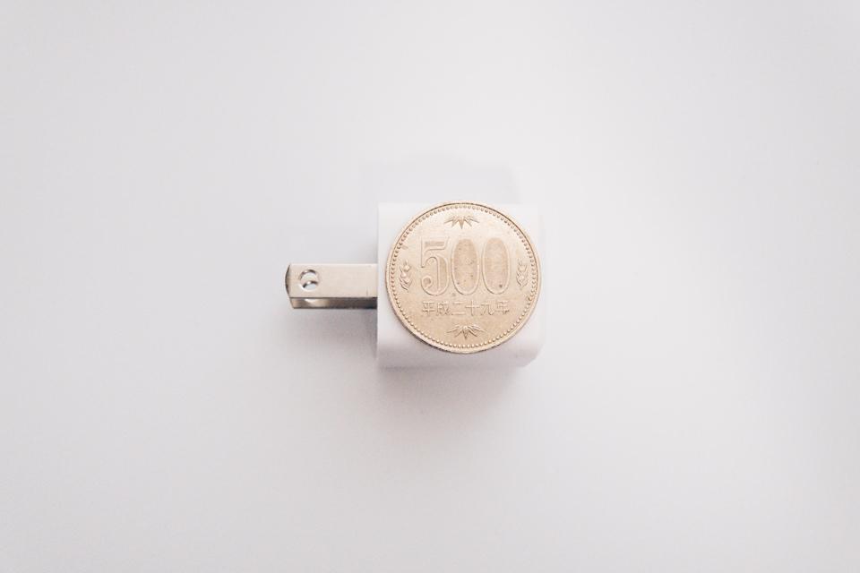 Anker PowerPort III Nano 20Wは500円とほぼ同じサイズ