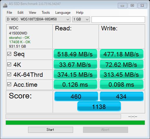 WD Blue 3D NAND SATA WDS100T2B0AのAS SSD Benchmark結果
