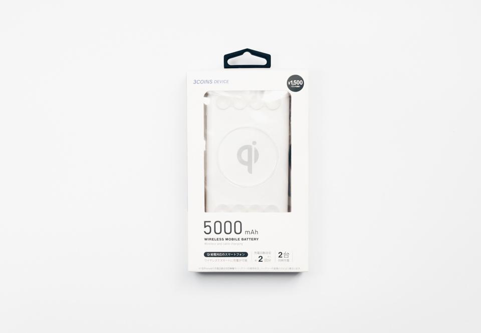 3COINSワイヤレスモバイルバッテリーのパッケージ表面
