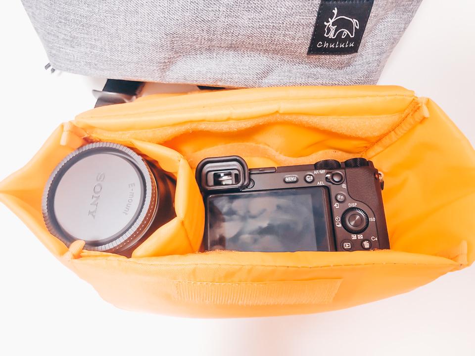 Chululu デイパックにカメラとレンズを収納